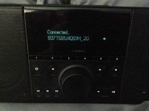Picture of the Logitech Squeezebox Boom Radio, Successfully Connected to New Wi-Fi Network Screen.