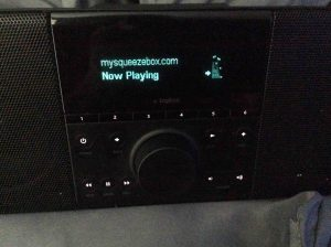 Picture of the Logitech Squeezebox Boom, successfully playing an Internet radio stream.