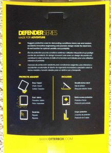 "Picture of the original carton rear of the OtterBox Defender Series iPad Mini Case, showing detailed advantages of this ""made for adventure"" protective shell case."