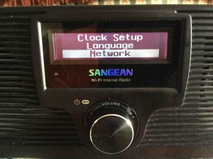 Picture of the Sangean WFR-20 Radio, displaying the Network Item in the Configure Menu.