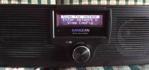 Picture of the Sangean WFR-20 Radio, displaying the Network setup menu.
