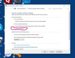 "Picture of the Windows 10, ""Use Computer Without a Display,"" Window, with the, ""Set Up Text To Speech,"" Option Highlighted."