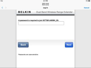 Picture of the Belkin F9K1106v1 Wireless Range Extender. displaying the Password Prompt screen for 2 Ghz. network, as seen in the Safari browser.