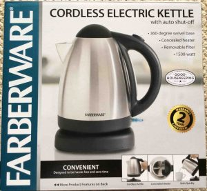Picture of the Farberware 104556 Cordless Electric Kettle, package front view.