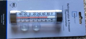 Picture of the Mainstays Refrigerator Freezer Thermometer G761, showing the front view of the original packaging.