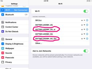 Picture of the extended network Wi-Fi SSIDs, now broadcast by the extender. as seen on an iPad Air.