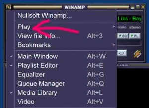Picture of the Winamp Play Menu Item, pointed to by the pink arrow.
