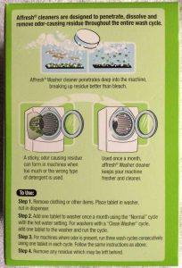 Picture of Affresh® Washer Cleaner, 7 ounce box, bottom view.