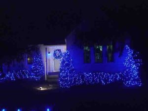 LED Lights Outdoors, house front view, showing miniature lights on bushes and door wreath, as well as a few C9 LEDs on the front fence.