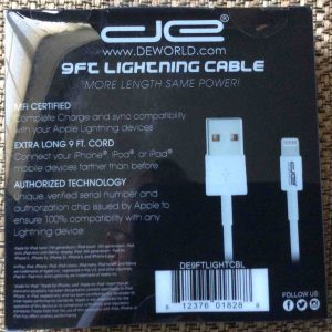 Picture of the DE 9 Ft. Lightning to USB data charging cable, original packaging back view.