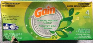 Picture of a 10.58 ounce box of Gain® Washing Machine Cleaner, four pouch, top view.