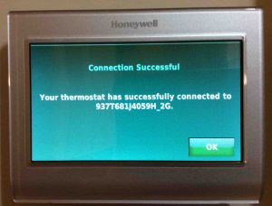 Honeywell RTH9580WF Smart Thermostat, showing the WiFi Connection Successful screen.