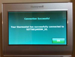 Change WiFi network on Honeywell thermostat RTH9580WF. Honeywell RTH9580WF smart t-stat, showing the WiFi Connection Successful screen.