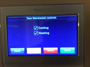 Picture of the Honeywell RTH9580WF Smart WiFi Thermostat, displaying the Your Thermostat Controls screen.