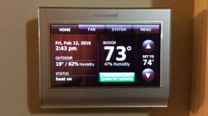 Picture of the Honeywell WiFi smart thermostat RTH9580WF, home screen view. Setting temperature differential on Honeywell t-stats.