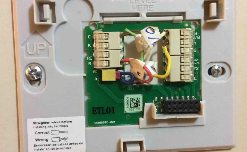 4 wire thermostat wiring color code tom s tek stop picture of the honeywell smart thermostat rth9580wf wall plate mounted wires connected