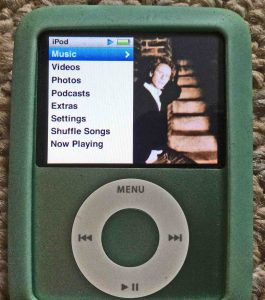 Picture of the iPod Nano 3rd Gen Portable Player, displaying the Main Menu after factory default reset.