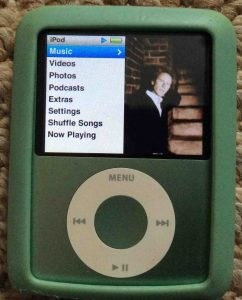 Picture of the iPod Nano 3rd Gen Portable Player, displaying its main menu.