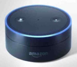 Picture of the Amazon Echo Dot 1st generation speaker, front top view. Factory reset Alexa.
