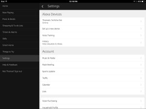 Picture of the Settings screen on the iOS Alexa App.