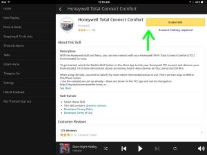 Picture of the Amazon Alexa App, showing the Honeywell Total Connect Comfort Skill Setup screen, with the Enable Skill button highlighted.