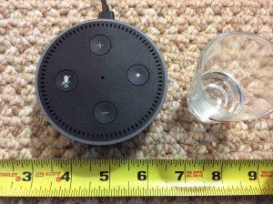 Picture of the Amazon Alexa Echo Dot Gen 2 Speaker measurements, perspective.