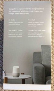 Picture of the Google Home original box, showing the back side.