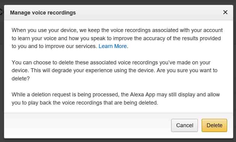 Picture of the Amazon web site, displaying the -Manage Voice Recordings- window.