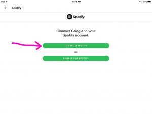 Picture of the Google Home app on iOS, displaying the -Connect Google to Spotify Options- screen, with the -Log in to Spotify- option highlighted.