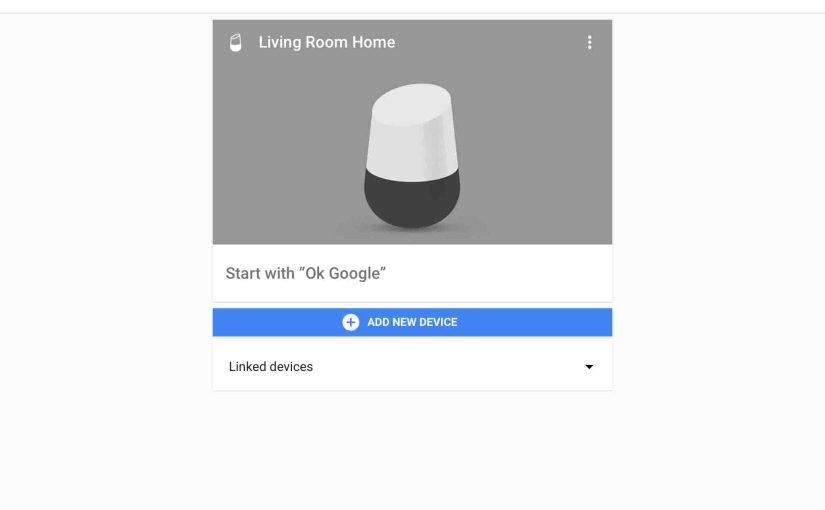 Picture of the Google Home app on iOS, displaying the -Devices- screen, with one speaker device up and running.