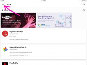 Picture of the Google Home app on iOS, displaying its Home screen, with the hamburger menu control highlighted.