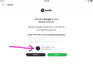 Picture of the Google Home app on iOS, displaying the -Spotify Account Confirmation- screen.