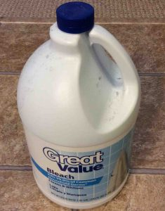 Picture of a bottle of Great Value brand bleach, front view.