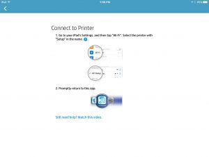 Picture of the HP AiO Remote app, displaying the -Connect to Printer- screen.