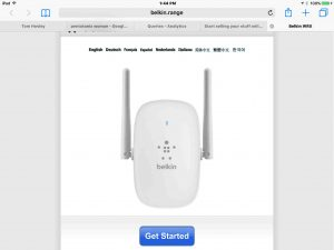 Picture of the -Setup-Get Started- web page as seen on an iPad Air, as displayed by the Belkin F9K1122v1 Wi-Fi range extender in setup mode.