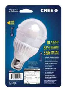 Picture of the Cree™ 100w LED soft white 2700k dimmable A21 light bulb, original package back.