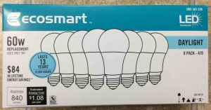 Picture of the Ecosmart™ LED 60w A19 daylight white light bulbs, eight bulb package, front view.