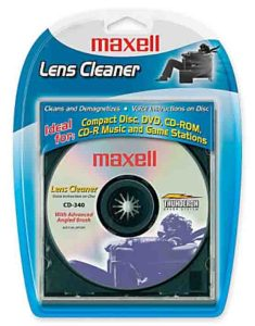 How to fix a skipping CD. Picture of the Maxell CD laser lens cleaner disc, original package, front view.