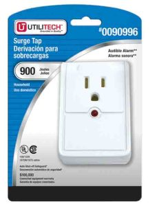 Picture of the Utilitech 0090996 single outlet surge protector for treadmills, original package, front view.