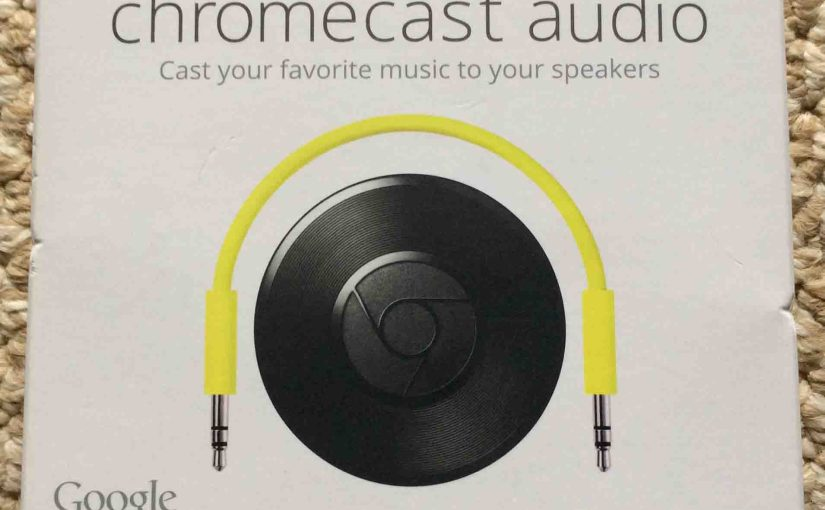 Picture of the original packaging for the Google Chromecast Audio receiver, front view.