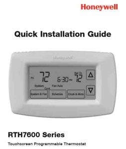 Picture of the Honeywell RTH7600 7-day programmable thermostat quick installation guide cover page.