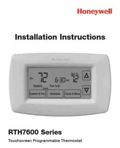 Picture of the Honeywell RTH7600 series thermostat comprehensive installation instructions cover page.
