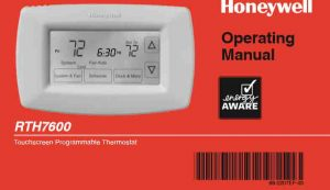 Picture of the Honeywell RTH7600 programmable thermostat operating manual cover page, top portion.