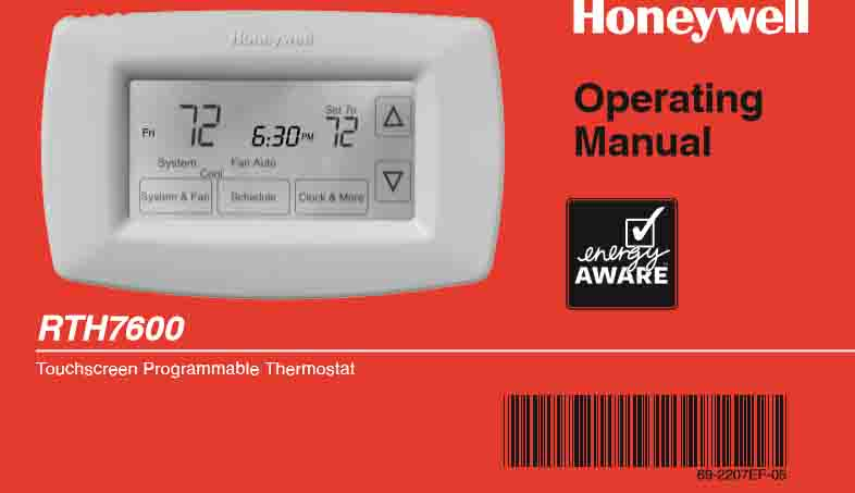 Honeywell RTH7600D Manual, Installation, User