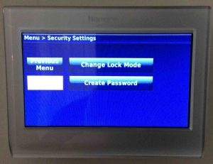 Picture of the Honeywell RTH9580WF smart thermostat, displaying its -Security Settings- screen.
