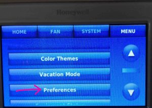 Picture of the Honeywell RTH9580WF t-stat, showing its -Main Menu- screen, with the -Preferences- button highlighted.