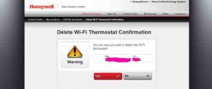 Picture of the Honeywell Total Connect Comfort web site, displaying the -Delete Wi-Fi Thermostat Confirmation- page, with our particular thermostat information blanked out.