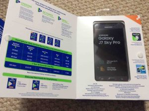 TracFone Samsung Galaxy J7 Sky Pro picture gallery. Picture of the Samsung Galaxy J7 Sky Pro TracFone, original packaging with the front flap open.