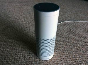 Picture of our Amazon Echo Gen 1 smart speaker, front view.