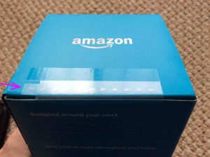 Picture of the Amazon Echo 2nd generation smart speaker box, sealing tape highlighted.